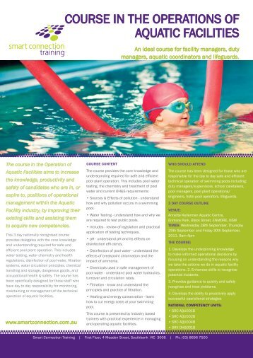 COURSE IN THE OPERATIONS OF AQUATIC FACILITIES