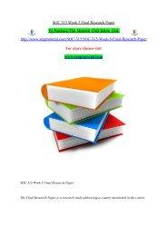 SOC 315 Week 5 Final Research Paper