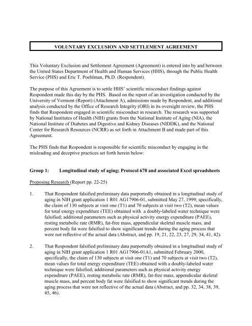 Voluntary Exclusion And Settlement Agreement The Office Of