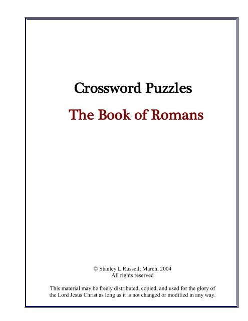 Crossword Puzzles The Book Of Romans