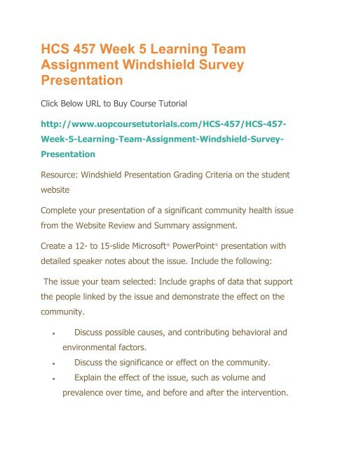 Hcs 457 Week 5 Learning Team Assignment Windshield Survey