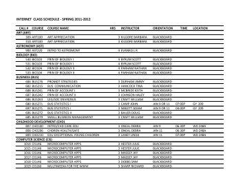 INTERNET CLASS SCHEDULE - SPRING 2011-2012