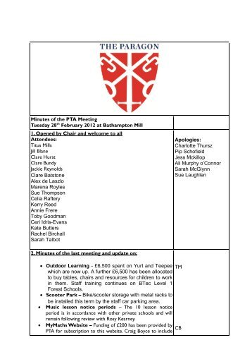 Minutes of the PTA Meeting Tuesday 28th February 2012 at ...