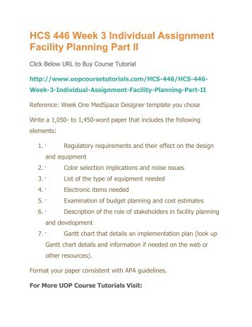 facility planning part 2 hcs 446 Part 2: write a 350- to 700-word summary that includes the following: analyze future trends in technology, equipment, and design of the health care facility you designed.