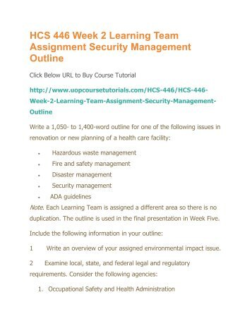 Hcs 446 environmental impact outline