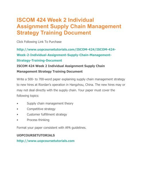 ISCOM 424 Week 2 Individual Assignment Supply Chain