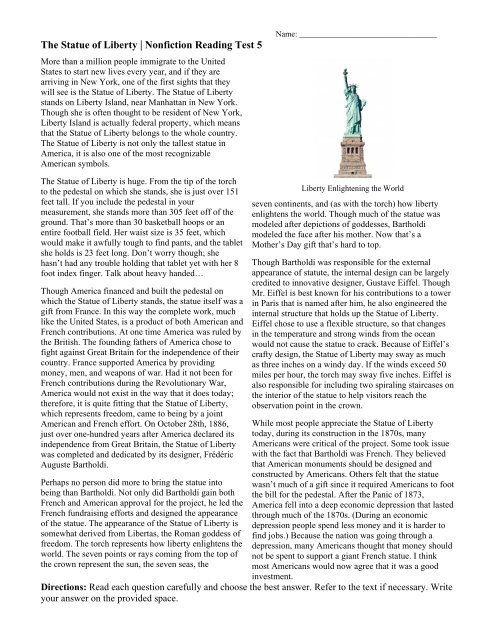 Nonfiction Reading Test 5 Statue Of Liberty Ereadingworksheets .esl worksheets for home learning, online practice, distance learning and english classes to teach about short, stories, short listen to the teacher read the story. nonfiction reading test 5 statue of