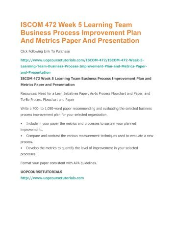 business process improvement plan and metrics paper iscom472