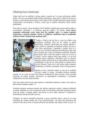 (M)učenje kroz istraživanje