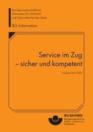 Service im Zug -- sicher und kompetent - VBG