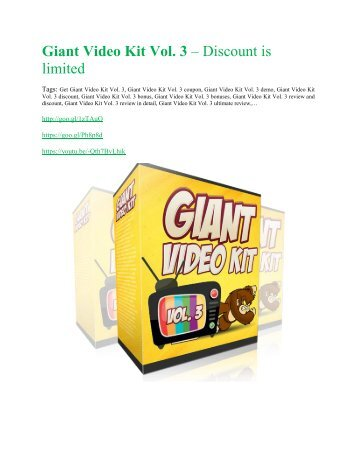 Giant Video Kit Vol. 3 review and $26,900 bonus - AWESOME!
