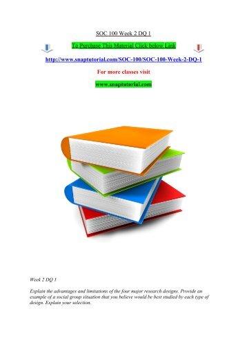 SOC 100 Week 2 DQ 1/Snaptutorial