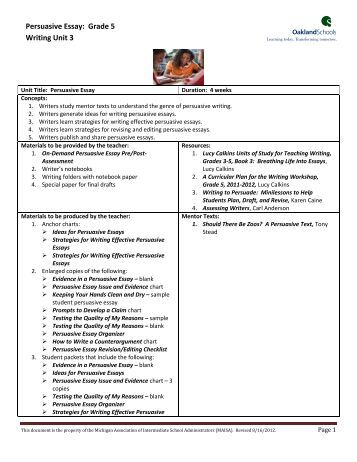 persuasive essay grade 5 writing unit 3 Informative/persuasive unit of study: essay 3rd grade page 4 of 7 last updated: 12/2012 essential questions learner outcomes writers use the writing process to create an essay that meets the purpose and intended.