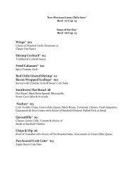 Dinner Menu - Sandia Resort & Casino