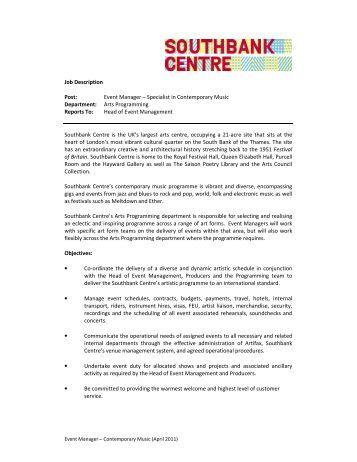 job description event manager     pdf   presbyterian support east    job description post  event manager       southbank centre