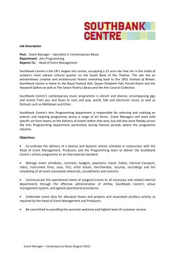 job description post event manager southbank centre