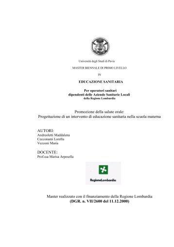 UNIVERSITÀ DEGLI STUDI DI PAVIA - ASL Pavia