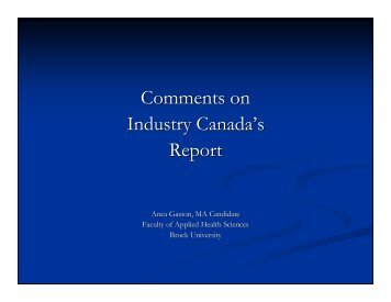 Comments on Industry Canada's Report