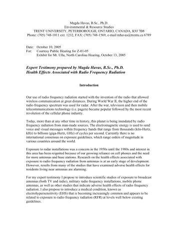 Expert Testimony prepared by Magda Havas, B.Sc ... - WEEP Initiative