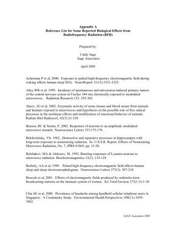 Appendix A Reference List for Some Reported ... - WEEP Initiative