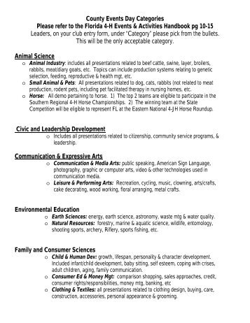 County Events Day Categories Please refer to the Florida 4-H ...
