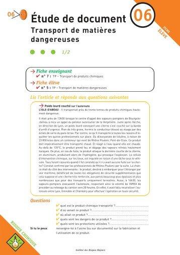 Transport de matières dangereuses - Institut des risques majeurs