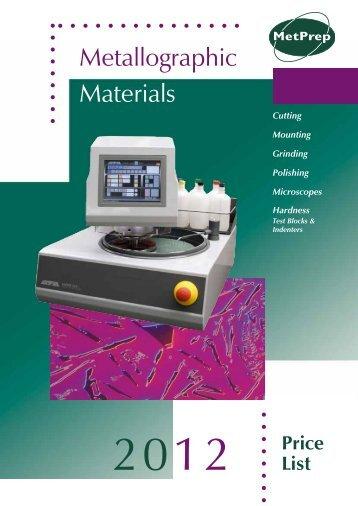 Download PDF Price List Here - MetPrep Ltd