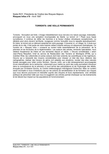 torrents: une veille permanente - Institut des risques majeurs