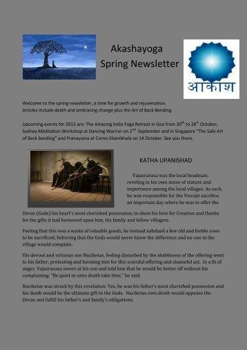 Akashayoga Spring Newsletter