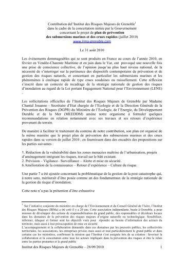 Propostion concertation plan submersion23092010 - Institut des ...