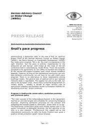 press release - WBGU