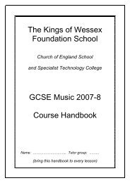 The Kings of Wessex Foundation School GCSE Music 2007-8 Course Handbook