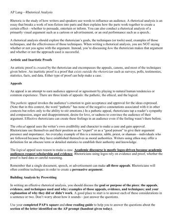 writing rhetorical analysis essays This page is brought to you by the owl at purdue ( ) when printing this page, you must include the entire legal notice at bottom understanding and being able to analyze rhetorical situations can help contribute to strong, audience-focused, and organized writing the.