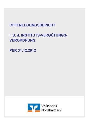 Konzeption zur Offenlegung nach § 26a KWG - Volksbank Nordharz ...