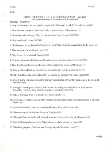 beowulf essay questions answers essay questions cliffsnotes