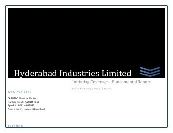 Hyderabad Industries Limited - ANS Pvt. Ltd.