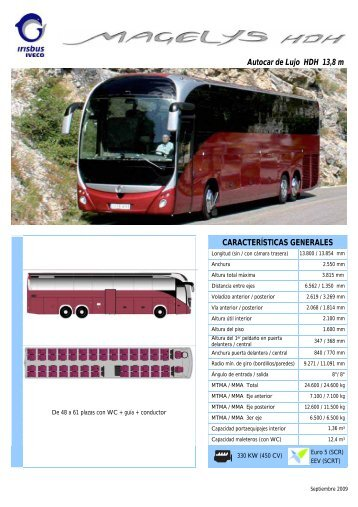 Autocar de Lujo HDH 13,8 m CARACTERÍSTICAS GENERALES