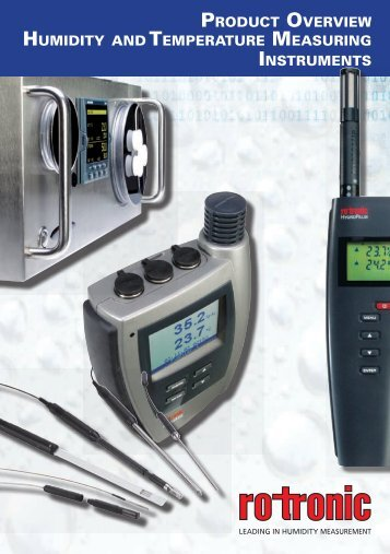 PRODUCT OVERVIEW HUMIDITY TEMPERATURE MEASURING INSTRUMENTS