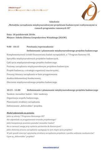 Metodyka zarządzania międzynarodowymi projektami ... - SGGW