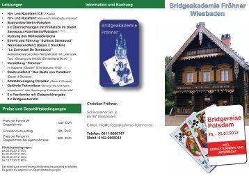Bridgereise Potsdam - Bridgeakademie Fröhner