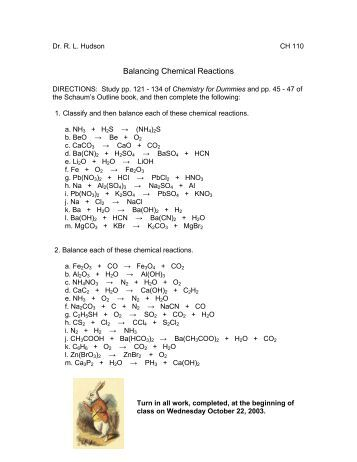 Worksheets How To Balance The Name And Type Of Chemical Reaction Chapter 7 Worksheet 1 types of chemical reaction worksheet ch 7 name balance the balancing reactions