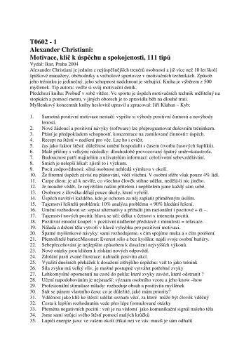 Alexander Christiani Motivace klíč k úspěchu a spokojenosti 111 tipů
