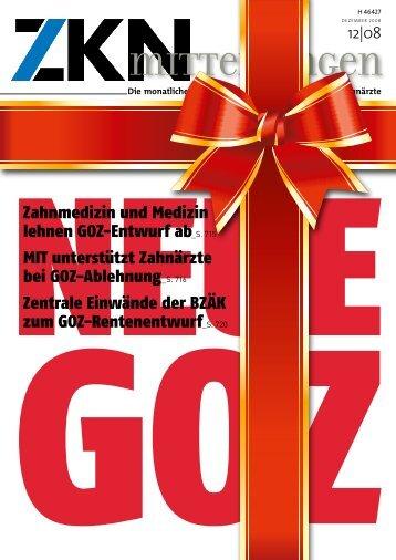 Zahnmedizin und Medizin lehnen GOZ-Entwurf ab_S. 715 MIT ...
