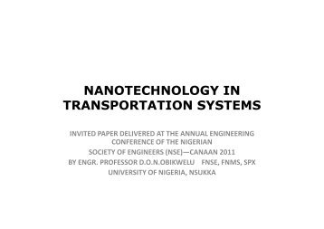 NANOTECHNOLOGY IN TRANSPORTATION SYSTEMS