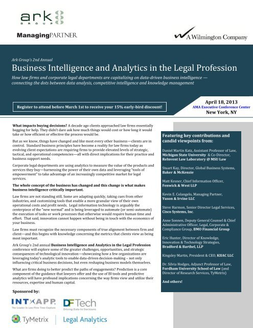 Business Intelligence and Analytics in the Legal Profession