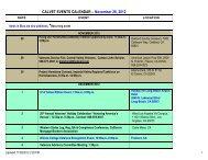 CALVET EVENTS CALENDAR – November 28, 2012