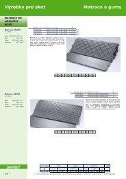 Výrobky pro skot Matrace a gumy