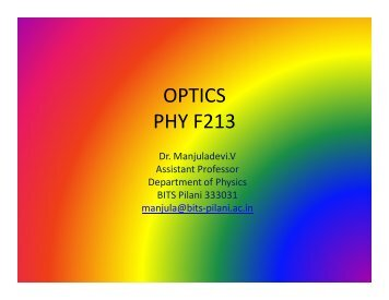 OPTICS PHY F213