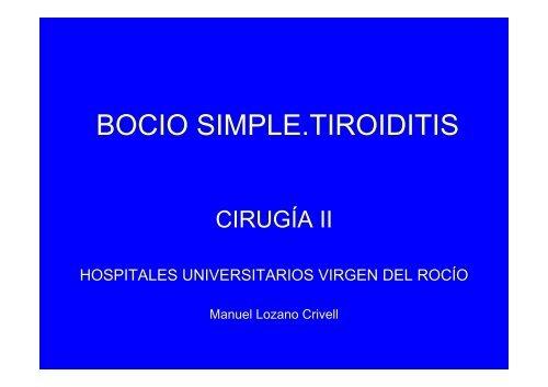 BOCIO SIMPLE.TIROIDITIS - Unidad del Pie y Tobillo