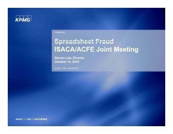 Spreadsheet Fraud ISACA/ACFE Joint Meeting